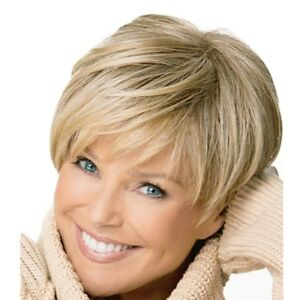 Light Blonde Boy Cut Short Pixie Straight Cosplay Full Wig For White ... 1ec9f765f2