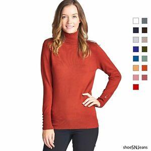 USA-Women-Fashion-Long-Sleeve-Button-Turtle-Neck-Sweater-Top-T-Shirts-Size-S-XL