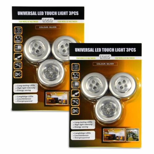 EAXUS® LED Touch Leuchte 6er-Set Schrankleuchte Drück Klebe-Licht mit 4 LEDs Bad