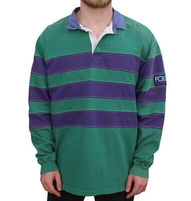 Vintage Polo Sport Ralph Lauren Green Purple Striped Rugby (Size L) | eBay