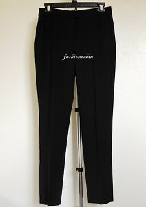 NEW DIANE VON FURSTENBERG Stretch-wool Slim-leg Cigarette Pant, Black~sz6~$278