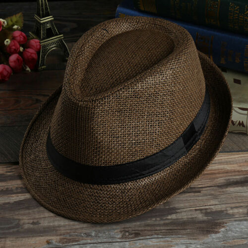 Unisex Hat Men Women Fedora Trilby Wide Brim Straw Cap Summer Beach Sun Panama
