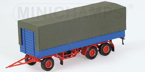 1 43 MINICHAMPS TRAILER 3 AXLE - 3-ACHS PRITSCHENANHÄNGER azul-rojo 1965 RARE