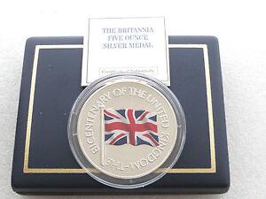 2001-Union-Jack-200-ANIVERSARIO-Britania-De-Plata-Prueba-5oz-MEDALLA-CAJA