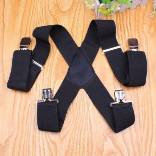 """2/"""" 50mm Wide Mens X-Back X Shape Heavy Duty Trousers Suspenders Brace Black A3H1"""