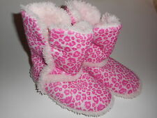 Girls Boot Slippers Soft Fuzzy Pink Size 13-1 NWT