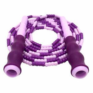 Jump Rope Adjustable with Anti-Slip Grip Soft Plastic Beaded Tangle-Free, Purple