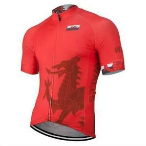 Team Wales Red Men/'s Short Sleeve Cycling Jersey