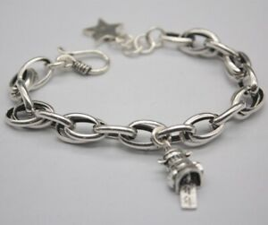 Pure-925-Sterling-Silver-8mm-Oval-Rolo-Link-Bracelet-with-Wealth-Charm-19cm