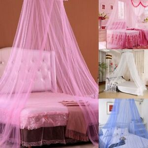 Image is loading Pink-White-Blue-Round-Lace-Curtain-Dome-Bed- & Pink/White/Blue Round Lace Curtain Dome Bed Canopy Netting ...