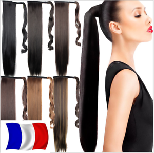 Rajout-Queue-de-Cheval-Postiche-Extension-de-Cheveux-Lisse-Wrap-Around-Ponytail