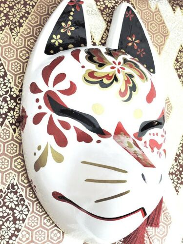 "Japanese fox mask motif /"" Syuka /"" White /& Red /& Gold Hand made  New Red flower"