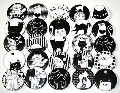 CUTE CARTOON CATS BADGES x 25 Button Pins Bulk Wholesale Lot Cat Kitty