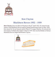 KEN CLAYTON BLACKBURN ROVERS 1952-1959 RARE ORIGINAL HAND SIGNED CUTTING/CARD