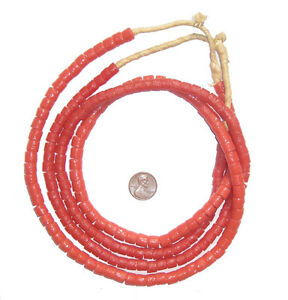 Coral-Color-Sandcast-Cylinder-Beads-8mm-Ghana-African-Red-Glass-Large-Hole