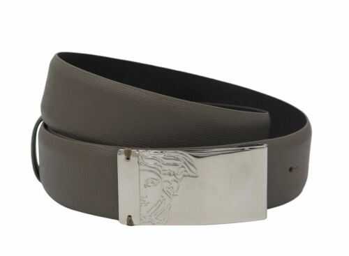 VERSACE COLLECTION Men/'s Taupe Brown Saffianio Leather Medusa Buckle Belt 158