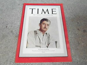 JAN 23 1939 TIME vintage magazine WILLIAM FAULKNER