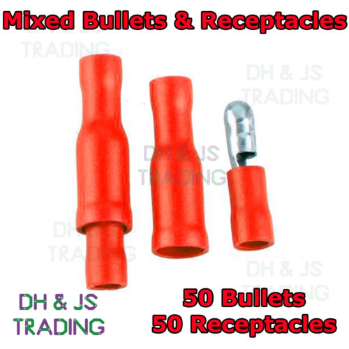 100 Mixed Red Male Female Bullet Receptacle Terminals Connector Crimp Wiring