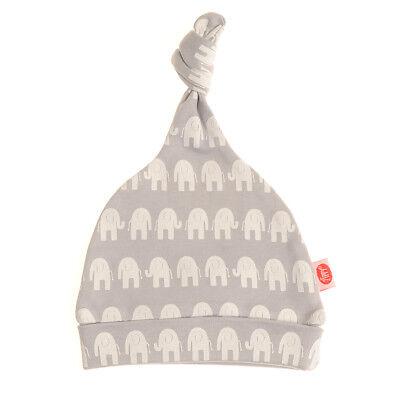 Bonnet De Naissance Coton Pour Bebe Noeud - Gris Avec Elephants