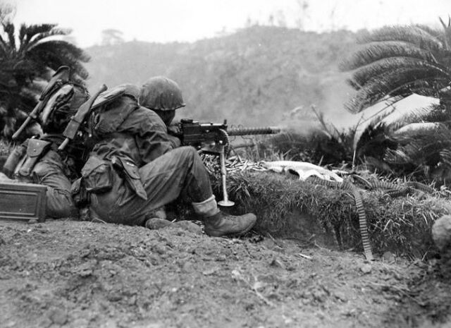 WWII B&W Photo Browning 1919 Machine Gun in Action on Okinawa US  WW2 / 1139