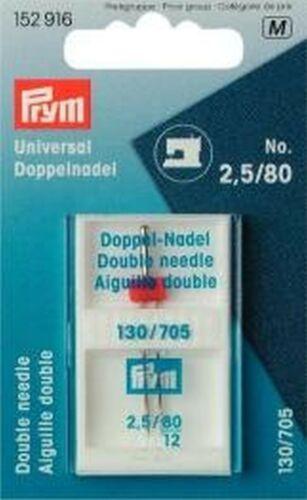 Zwillings Nähmaschinennadeln Doppel Nadel 130//705 Standard 80//2,5mm