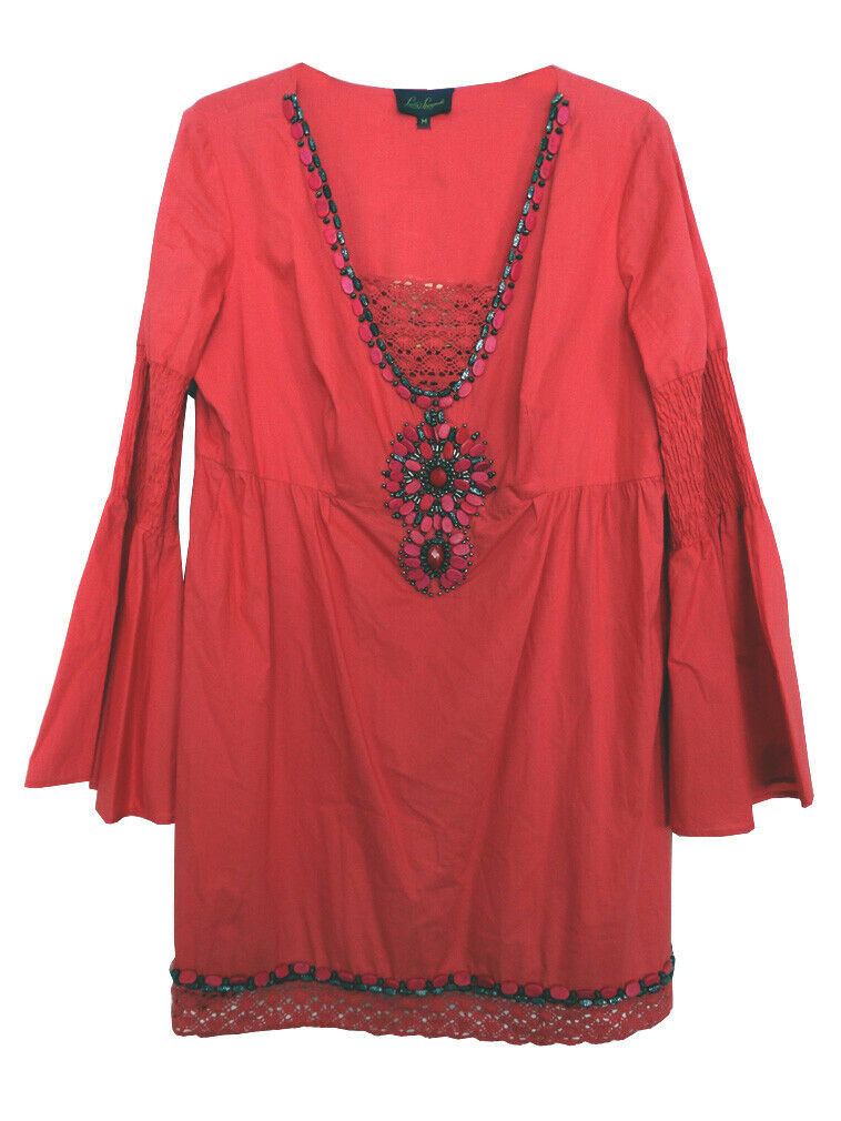 LUISA SPAGNOLI Coral rot Embellished Tunic Dress BNWT