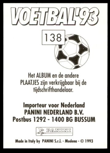Jurgen Streppel RKC no 138 Países Bajos Panini Voetbal/'93