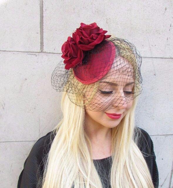 Burgundy Red Black Rose Birdcage Veil Flower Fascinator Races Headpiece Hat  2407 for sale online  7a41ed13538
