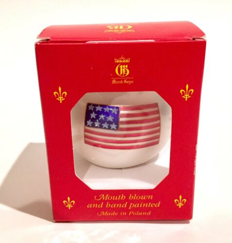 Vtg Marek Geyer Mouth Blown American Flag Christmas Ornament Red White Blue USA