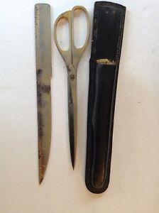 Vintage  Solingen Germany Scissors and Letter Opener  with Black  Leather Sheath