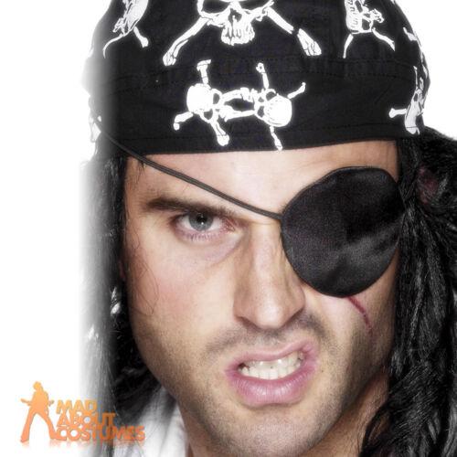 Pirate Eyepatch Black Satin Buccaneer Captain Fancy Dress Costume Accessory New