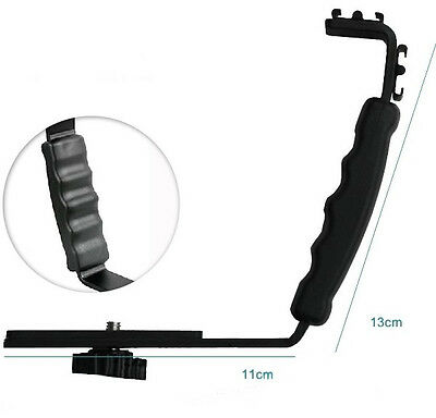 Heavy Duty Photo Video L bracket with 2 Standard Hot Shoe Mount for Light Camera