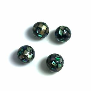 2PCS-Natural-Abalone-Shell-10mm-Mosaic-Round-Beads-HQ-NEW-DIY-Design-Handmade