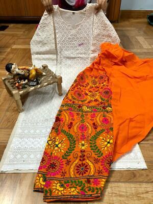 Details about  /Beautiful Handwork patiala salwar cotton  Full chikan kurtis with sequence work