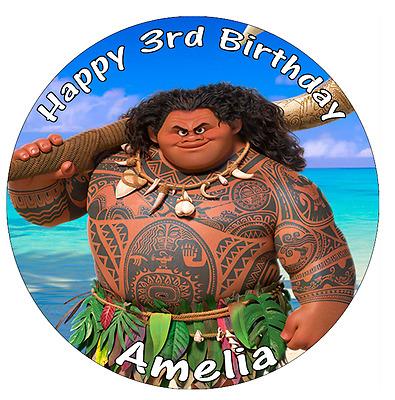 "Disney Moana Personalised Birthday Cake Topper Edible 7.5/"" Wafer Cake Decoration"
