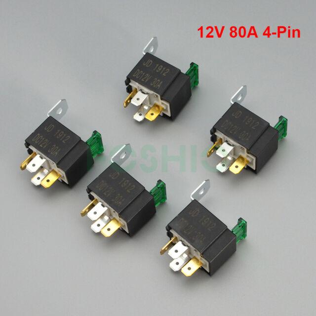 5pcs 12v 30a Automotive Original Relay Fuse Holder SPST 4-pin High Current  Micro