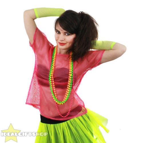 MAGLIA a rete o Pizzo Top 80/'s donna rosa discoteca party 1980 Rave T-SHIRT DISCOTECA