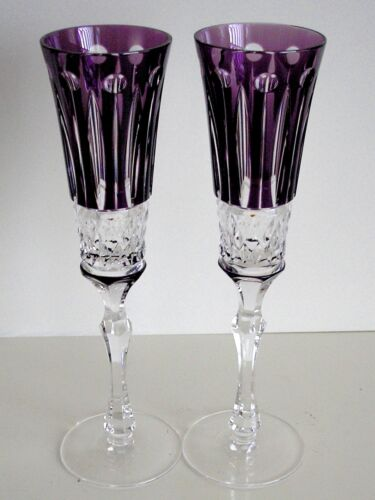 FABERGE XENIA AMETHYST CASED CUT TO CLEAR CHAMPAGNE FLUTES Set of 2 AJKA