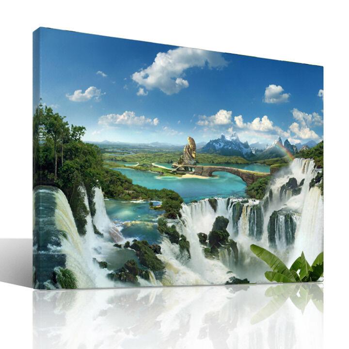 Once upon a Time - Leinwandbild Wellness Wasserfall Fantasy moderne Kunst Natur