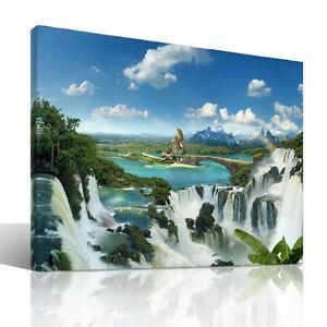 Once-upon-a-Time-Leinwandbild-Wellness-Wasserfall-Fantasy-moderne-Kunst-Natur