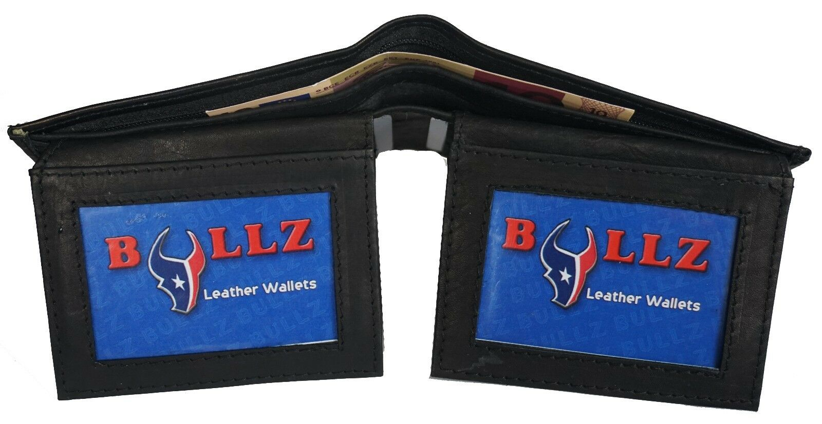 Double Flap Up Bifold Mens Wallet Cowhide Leather 6+ credit cards - 4 ID Window