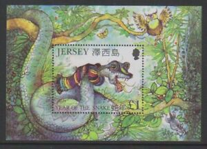 Jersey - 2001, Année Du Serpent Feuille - MNH - Sg MS972