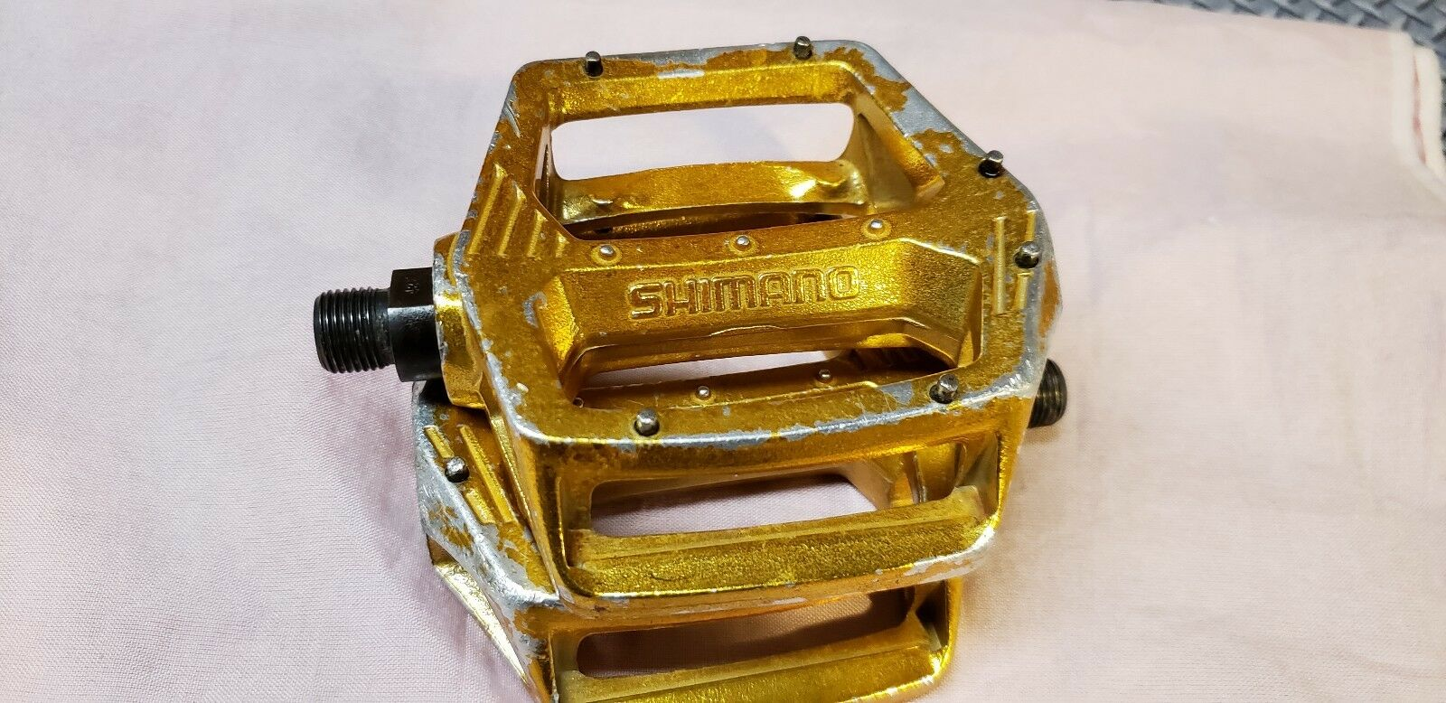 Old Bmx  gold Shimano dx 9 16  Pedals Pro Freestyle Bike 20  Performer Dyno Haro  unique shape