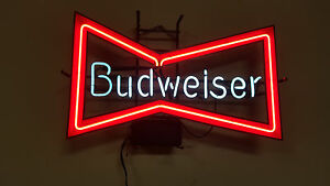 Vintage Budweiser Bow Tie Neon Sign a #1: s l300