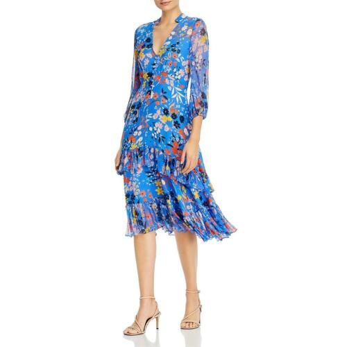 Shoshanna Womens Mireya Floral Print Ruffled Hi-Low Midi Dress BHFO 0942