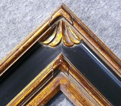 "4.75/"" WIDE Silver and Black Ornate Oil Painting Wood Picture Frame 278BPS"