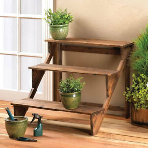 3 Tier Wood Staircase Plant Stand Or Display Shelves 849179024918 Ebay