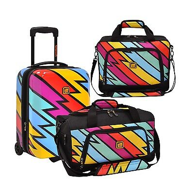 Loudmouth Captain Thunderbolt 3pc Carry-on Suitcase Duffel Tote Bags Luggage Set