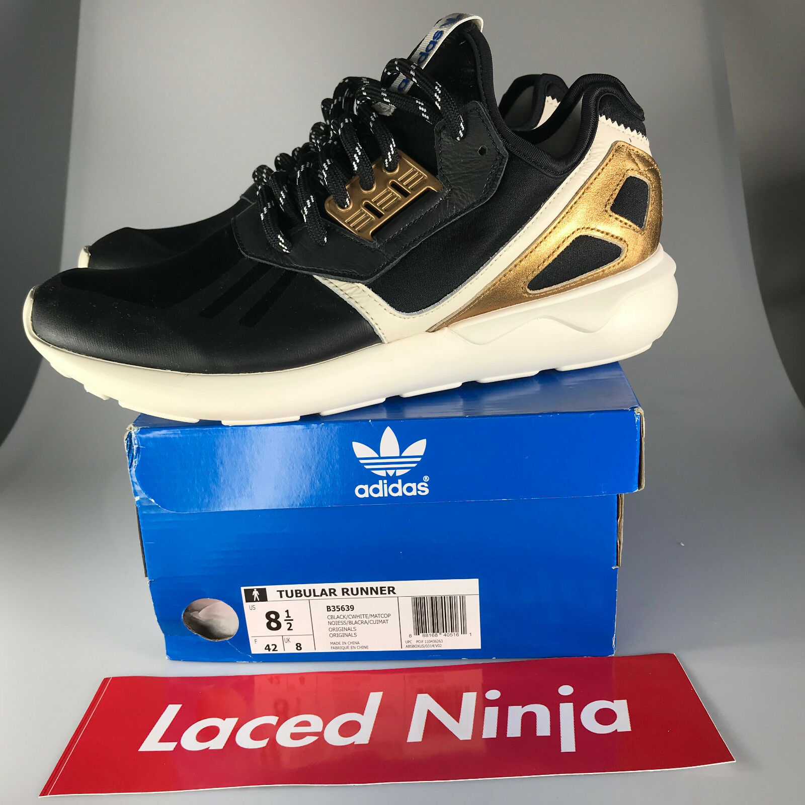 Pre-owned Adidas Mens Tubular Runner Authentic Black/Gold B35639 Size 8.5 Authentic Runner a48aa1