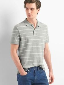 62a0f455 Details about NEW GAP Men's Gray Grey & White Thin Stripe Classic Polo  Style Shirt L